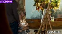 Скриншот Белокурая художница трахается в жопу после рисования